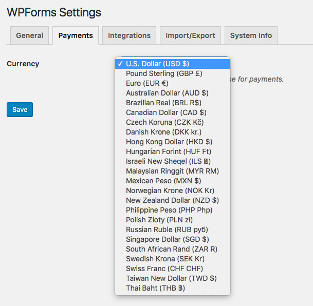 Multiple Currency Support in WPForms