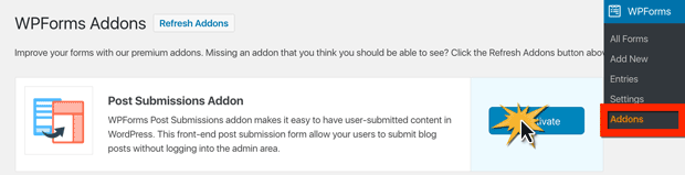 How to Activate the Post Submission Addon