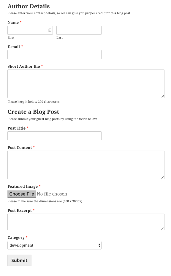 Guest Blog Post Submission Form Published pay per post wordpress plugin