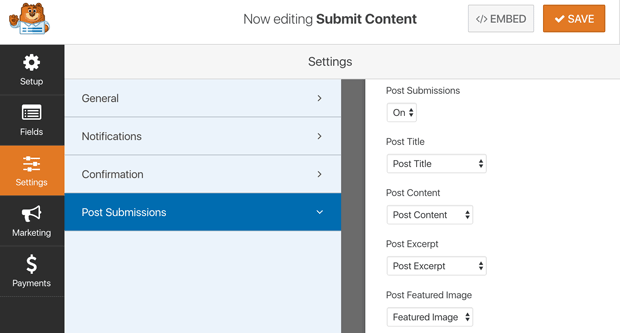 Front End User Post Submission Settings