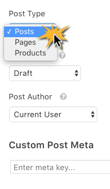 Select Post Submission Type, Status, and Author