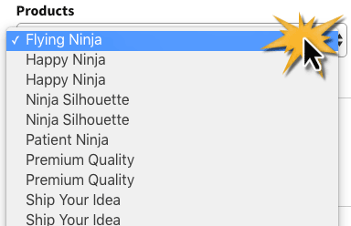 Products Dynamic Dropdown