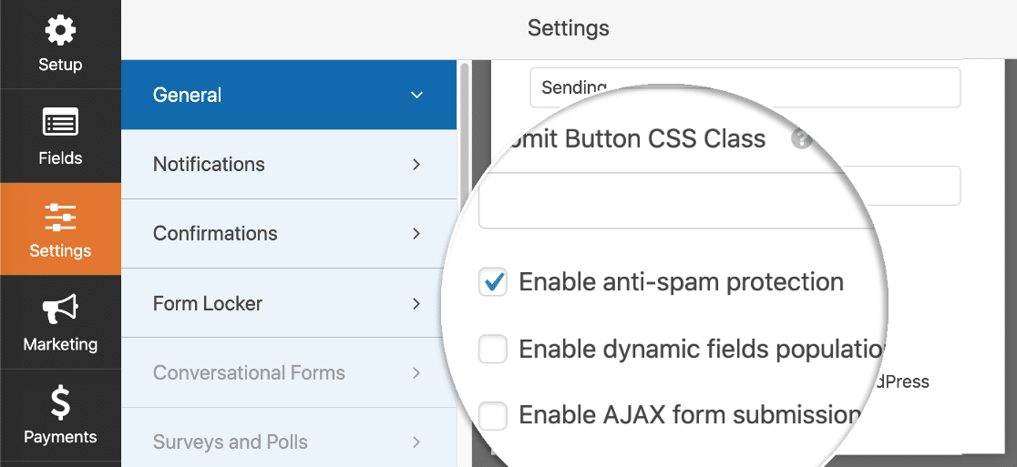 Anti-spam protection in WPForms