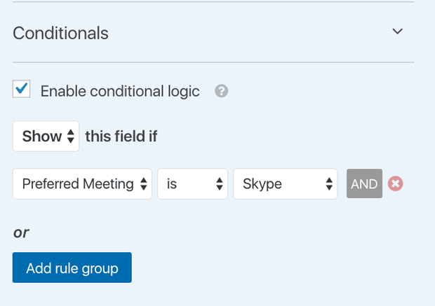 Show conditional logic