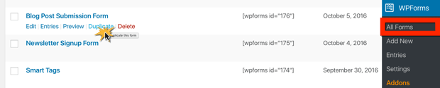 How to duplicate a WordPress form in WPForms