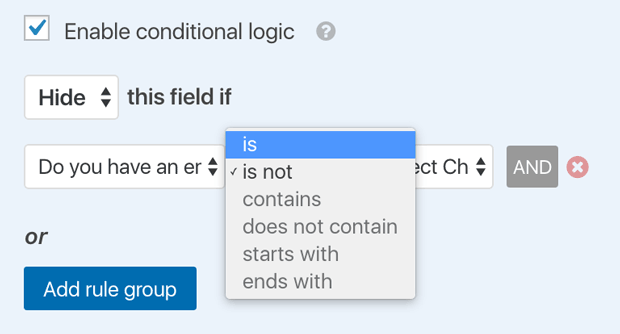 Conditional Form Hide Options