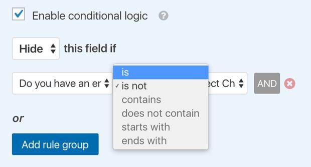 Conditional Smart Logic Form Hide Options