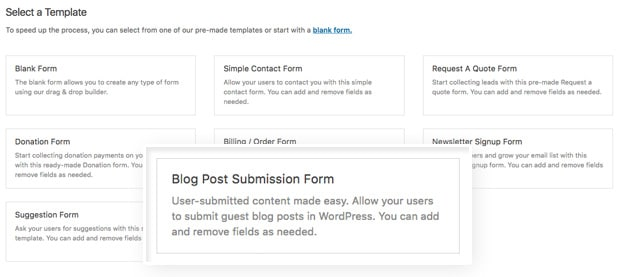 WordPress Blog Post Submission Form Template