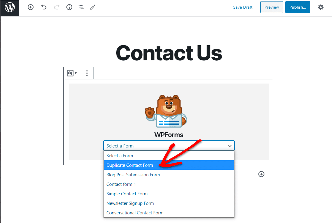 select duplicate contact form in wordpress