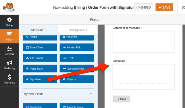 how to add a signature to a form in WordPress