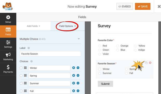 survey form field options
