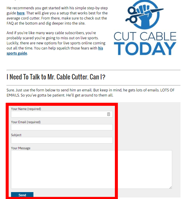 contact form call to action on an about page