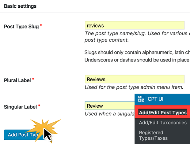 create user review form with custom post types
