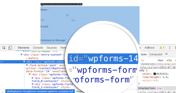 inspecting the form elements to discover the form ID