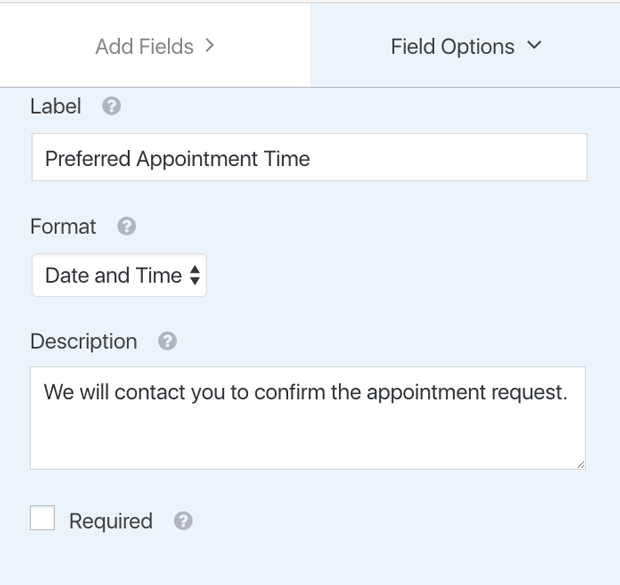 label client booking form field