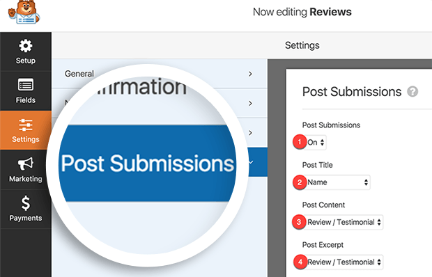 review forms post submission settings