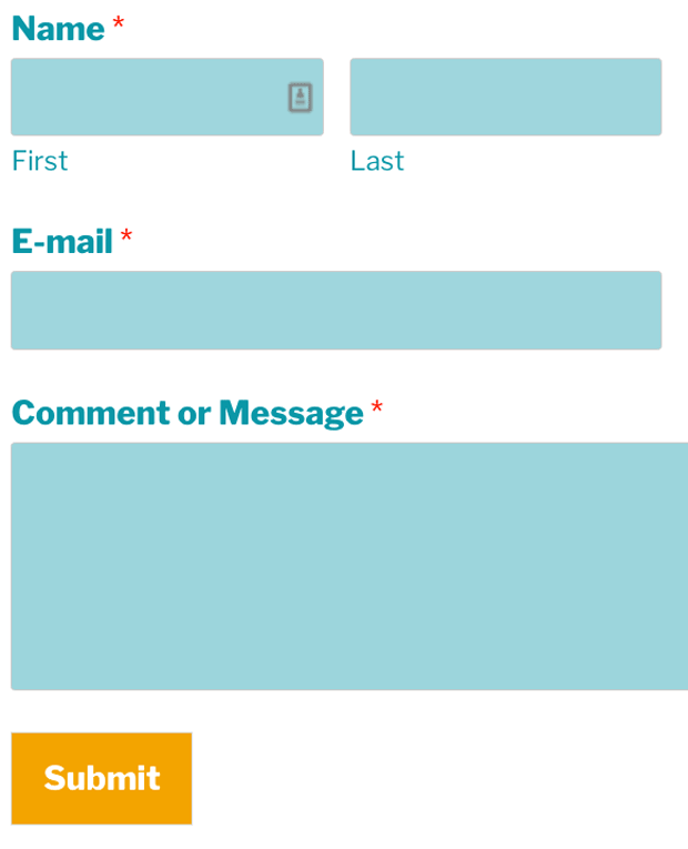an example of some basic styles applied to a contact form