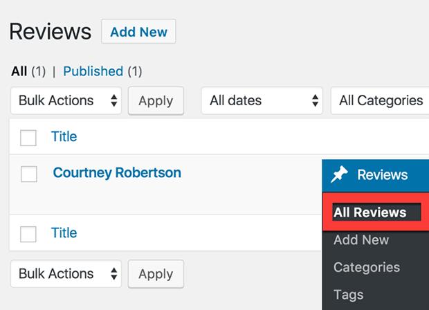 user reviews custom post type ui