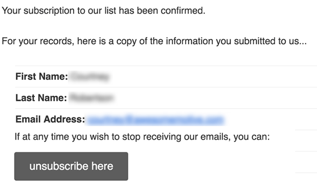 MailChimp double opt-in confirmation