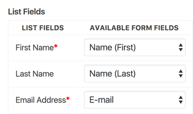 WordPress contact form fields connected to MailChimp newsletter list