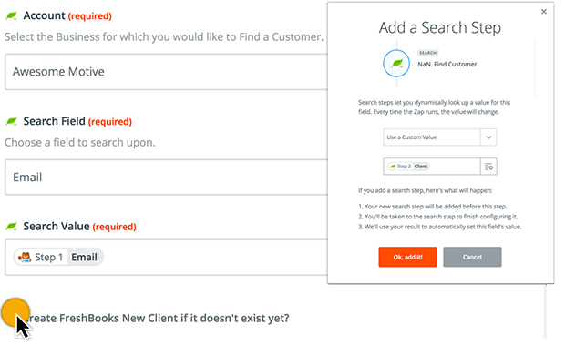 Zapier search for Freshbooks client