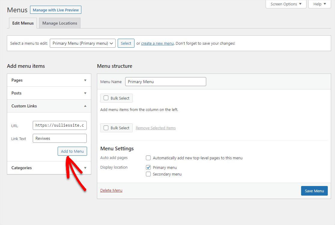 add custom link for reviews
