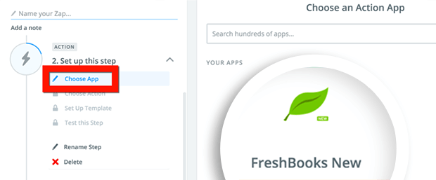 choose Freshbooks app to connect with WordPress invoice forms