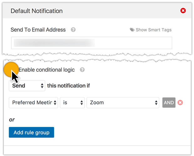 conditional logic email notification to different recipients