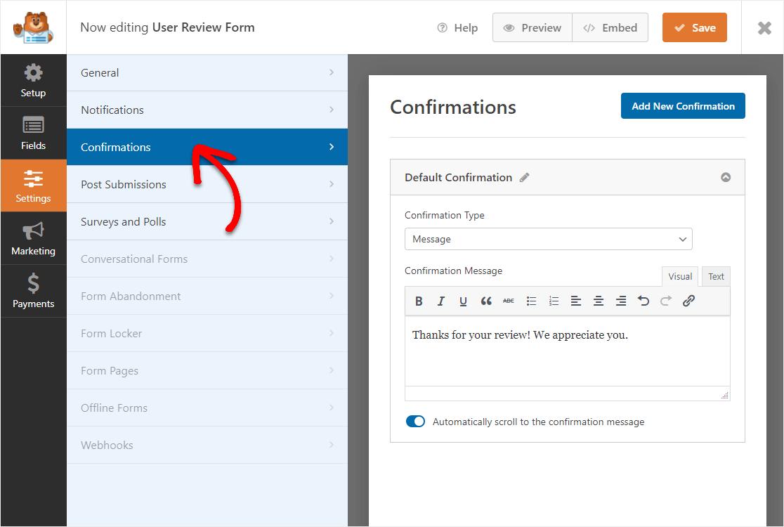 confirmations location in wpforms