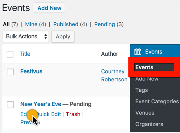 edit front end user submitted event to published