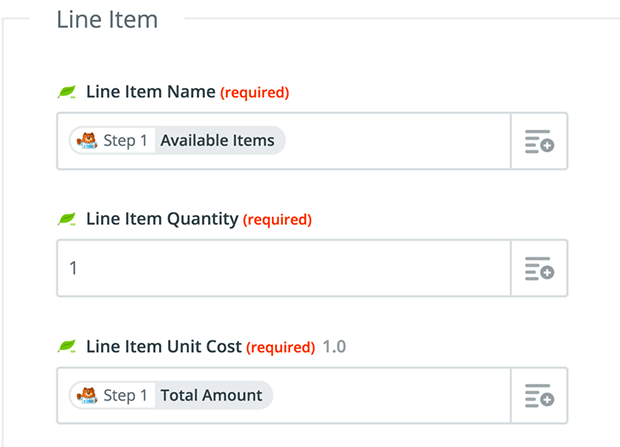 configure line items in Freshbooks invoice