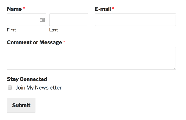 Contact form with a MailChimp signup checkbox