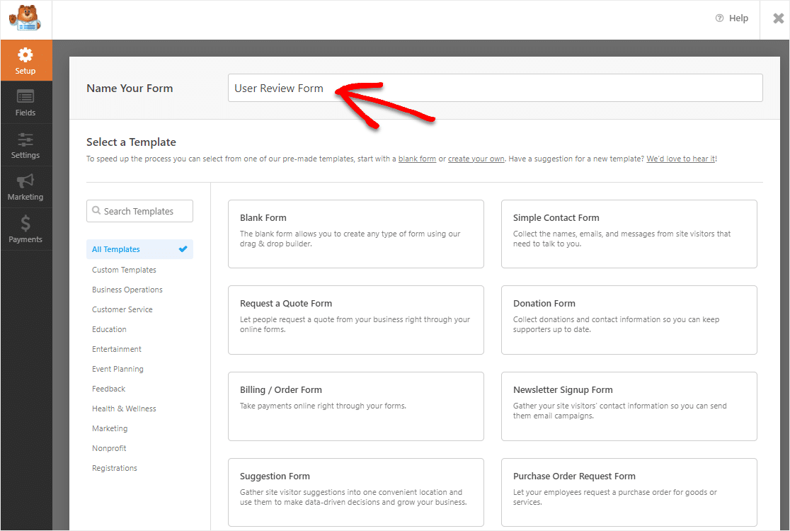 name your user review form to add to site