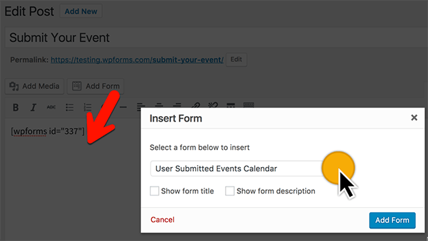 how to publish a usr submitted events calendar form