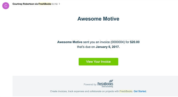 receive FreshBooks invoice from WordPress form