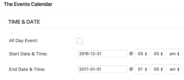 the events calendar time and date for users submitted calendar form