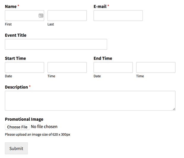 user submitted events front-end form