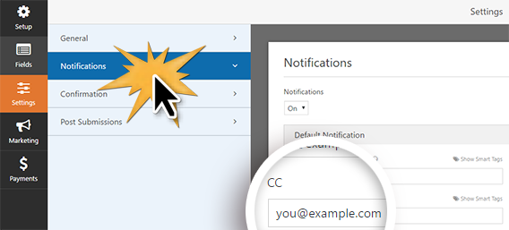 Add a CC email address to your form notifications