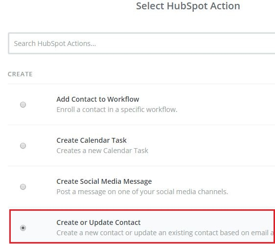 select hubspot action in zapier
