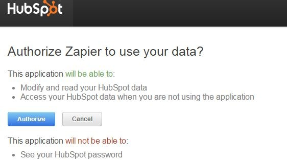 authorize zapier to use hubspot data