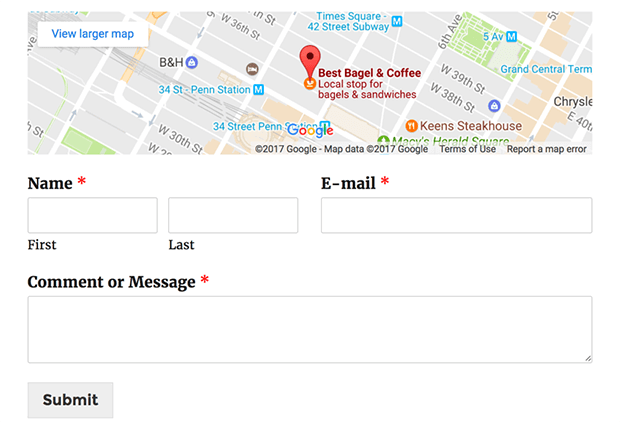 WordPress contact form with map