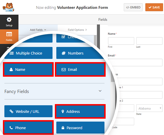 adding form fields to our volunteer application form
