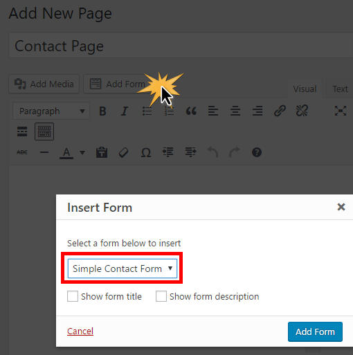 adding your form with datepicker to a WordPress post or page