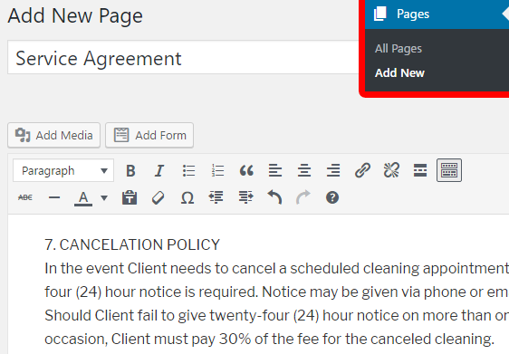 adding a new page for your wordpress contract agreement form