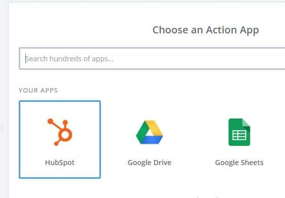 choose hubspot as action app