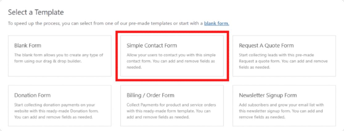 WPForms simple contact form template