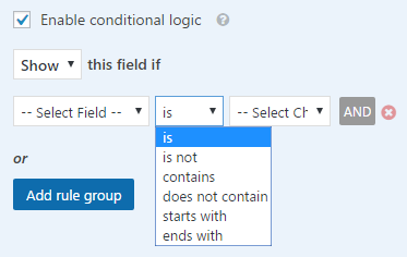 options for conditional logic