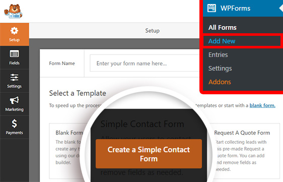 Creating a simple contact form with WPForms