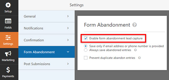 Enabling form abandonment in WPForms