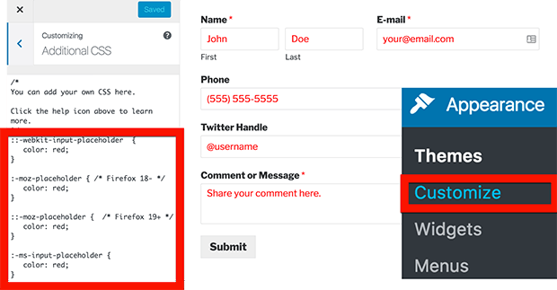 how to style html5 placeholder text for a wordpress contact form placeholder